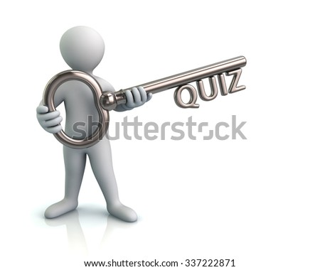 Illustration of man and silver key with quiz - stock photo
