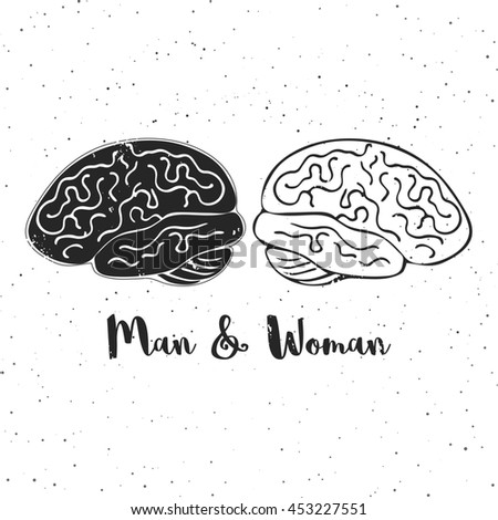 Illustration of man and woman brains. These are iconic representations of gender psychology, creativity, ideas, inspiration, thoughts, memory and education. - stock photo