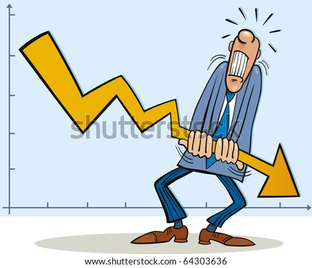 Illustration of man fighting with crisis - stock photo