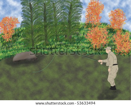 Illustration of man fly fishing in stream - stock photo