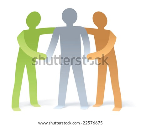 Illustration of 2 man give support to 1 man - stock photo