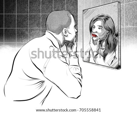 looking in mirror different reflection drawing. illustration of man looking into a mirror and seeing female face in the reflection different drawing i