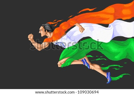 illustration of man running in tricolor Indian flag