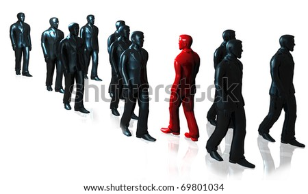 illustration of man's group in dark gray color walking among one of red color