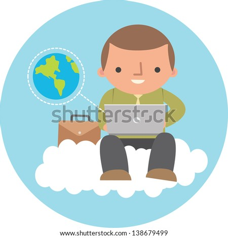 Illustration of man using cloud service - stock photo