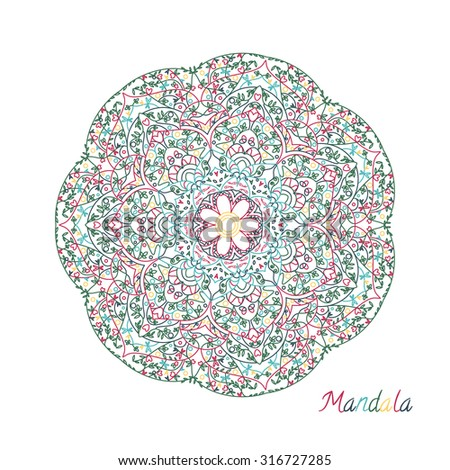 Illustration of mandala. Hand drawn. Round ornament.