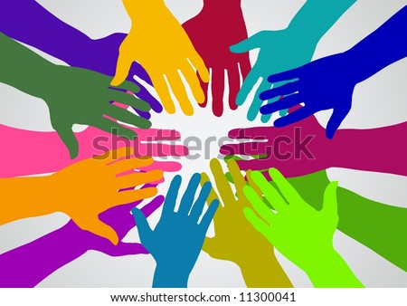 Illustration of many colored hands - stock photo