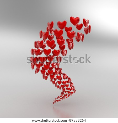 Illustration of many red hearts as a tornado - stock photo