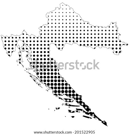 Illustration of map with halftone dots - Croatia  - stock photo