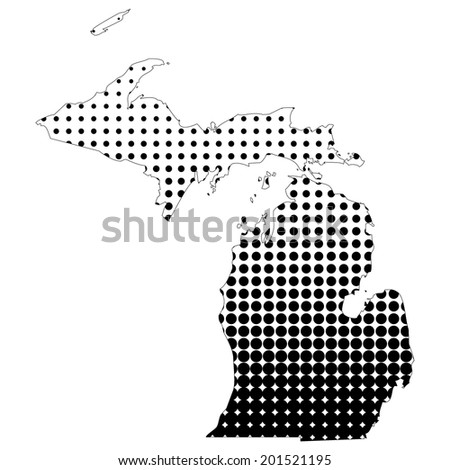 Illustration of map with halftone dots - Michigan