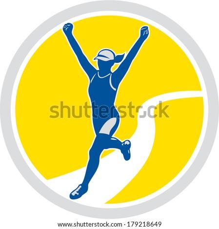 Illustration of marathon triathlete runner running arms raised winning finishing race set inside circle on isolated background done in retro style. - stock photo