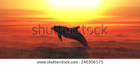 illustration of Marine mammal swimming in the sea - stock photo