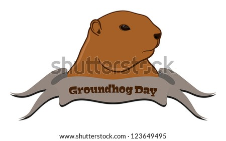 Illustration of marmot with ribbon in front, isolated on white background - stock photo