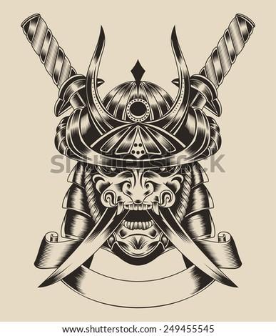 Illustration of mask samurai warrior with katana sword. - stock photo