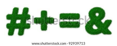 Illustration of math symbols made of grass - stock photo