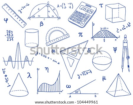 Illustration of mathematics - school supplies, geometric shapes and expressions - stock photo