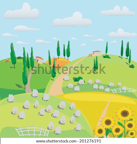 Illustration of meadow with sheep