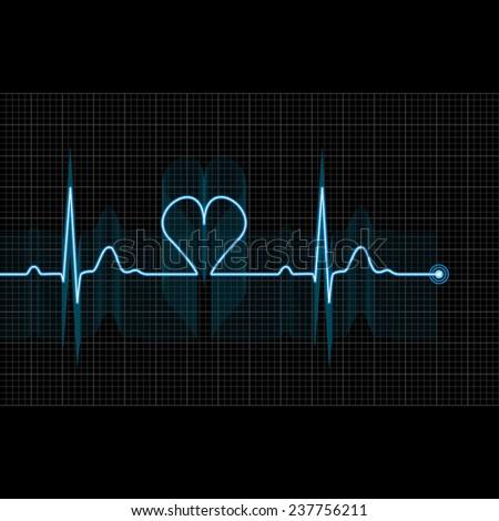 Illustration of medical electrocardiogram - ECG on grid, graph of heart rhythm on black background, 2d illustration, raster - stock photo