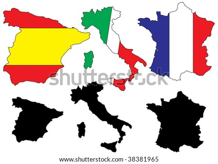 illustration of Mediterranean countries-France,Italy,Spain-maps with flags