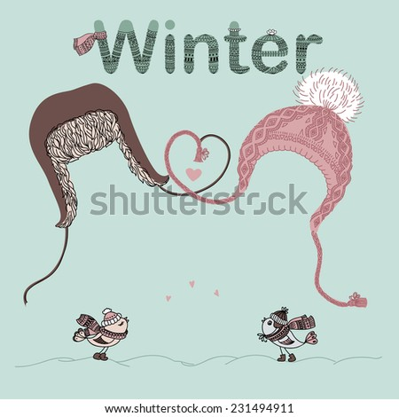 Illustration of men and women hats, bird lovers and place for text. Valentine card or Christmas card. - stock photo