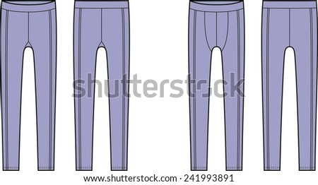 Illustration of men's and women's sport leggings. Front and back views. Raster version