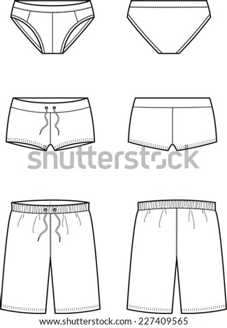 Illustration of men's swimming trunks. Front and back views. Raster version - stock photo