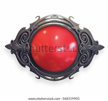 Illustration of metal baroque emblem with red gem - stock photo