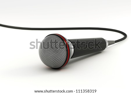 illustration of microphone rendered in 3d on black background