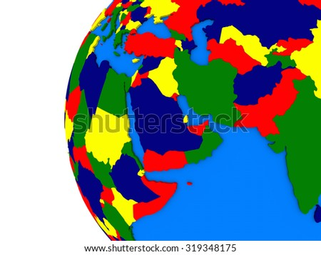 Illustration of middle east region on political globe with white background