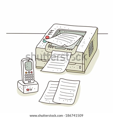 Illustration of mobile phone with fax machine