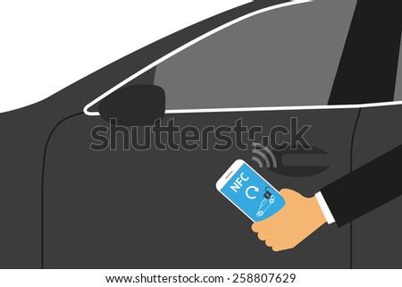 illustration of mobile unlocking a car via smartphone. - stock photo