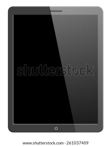 Illustration of modern computer tablet with blank screen. Isolated on white background - stock photo