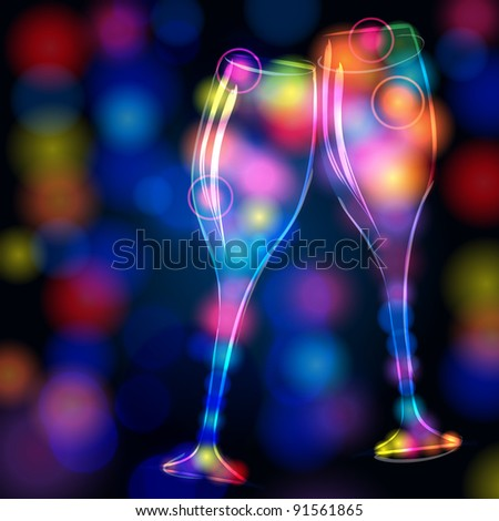 Illustration of modern, elegant, glittering champagne glasses made of neon light