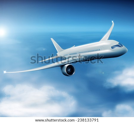 Illustration of modern jet airliner during flight. - stock photo