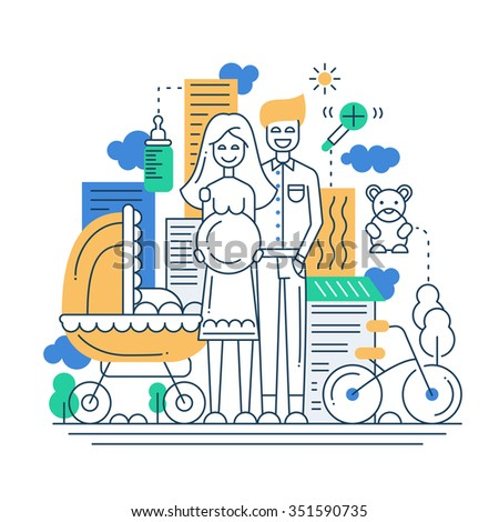 Illustration of modern line flat design city composition and infographics elements with a  happy family - stock photo