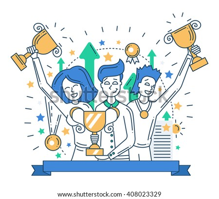 Illustration of modern line flat design composition and infographics elements with happy winners - stock photo