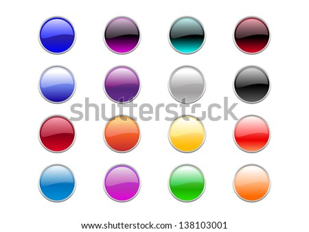 illustration of modern, shiny, round buttons.