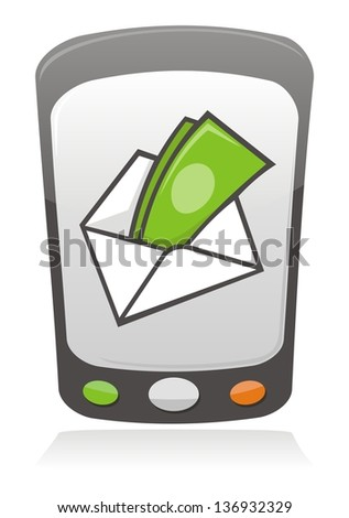 Illustration of money inside an envelope on a mobile phone screen. - stock photo