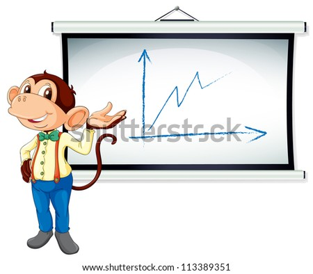 illustration of monkey showing white board on white