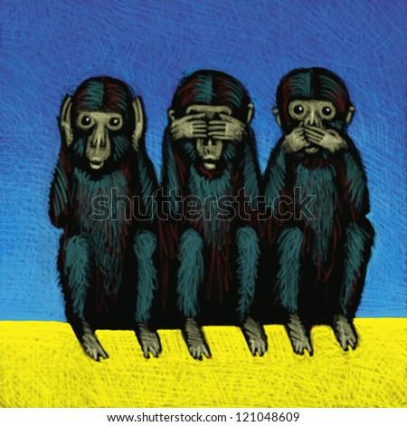 illustration of Monkeys - stock photo