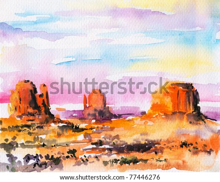 Illustration of Monument Valley at sunset.Picture I have created with watercolors. - stock photo