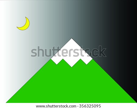 Illustration of moon and mountain during night time. - stock photo