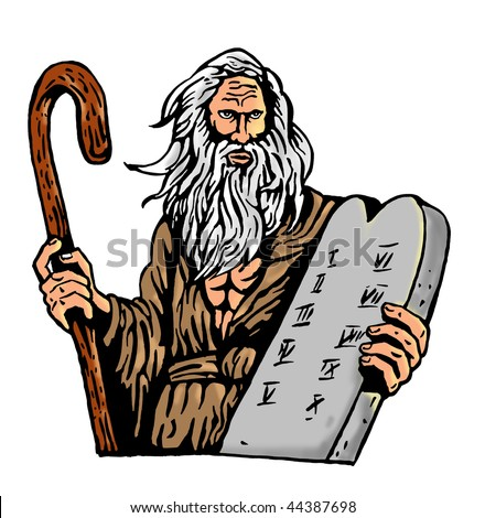 illustration of Moses Carrying The Ten Commandments On A Tablet - stock photo