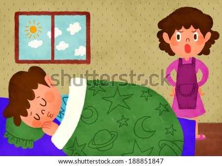 Illustration Mother Waking Child School Stock Illustration