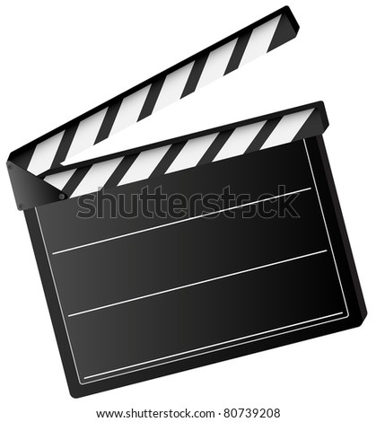 Illustration of movie clapper board  isolated on white background - stock photo