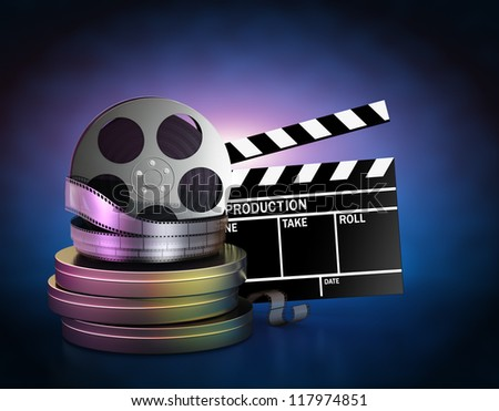 Illustration of movie film reels and cinema clapper - stock photo