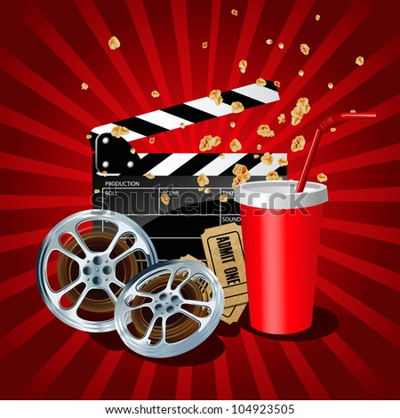 Illustration of  movie theme objects on red background. - stock photo