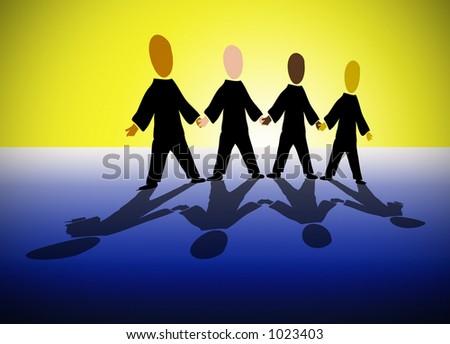 Illustration of multi-ethnic paperchain men - stock photo
