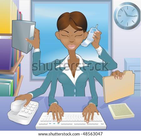 Illustration of multi-tasking black business woman in office environment - stock photo