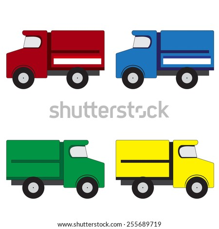 Illustration of 4 multicolored trucks on a white background - stock photo